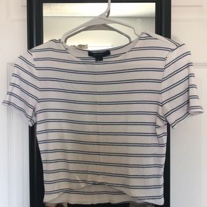 Crop top white and stripes blue